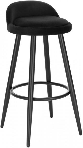 1 x Barhocker aus Samt & Metall Modell Heiko, schwarz