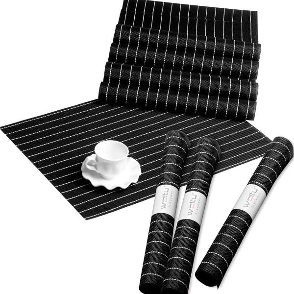 Tischset 8er Set, Platzdecke abwachbar rutschfenst hitzebeständig, Schwarz