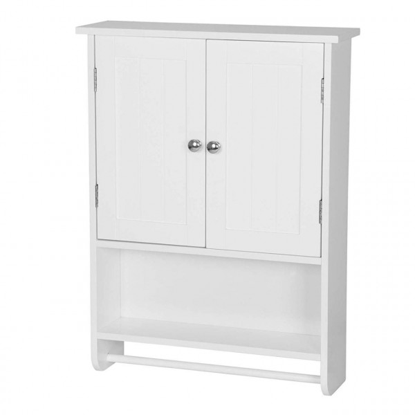 Wall Bathroom Cabinet Storage Unit Cupboard Pastoral Wooden /2 Doors/One Shelf/One Hanging Rail