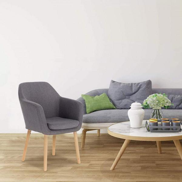 Esszimmerstühle 1x Küchenstuhl mit Armlehne aus Leinen