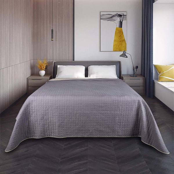 Tagesdecke Doppelbett unterfüttert und Gesteppt, Taupe-Dunkelgrau