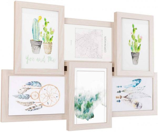 Bilderrahmen aus MDF-Platten für 6 Fotos 10x15 cm, eiche