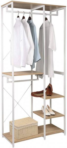 Garderoben- & Kleiderständer 4 Ablagen aus Holz & Metall, weiß-eiche