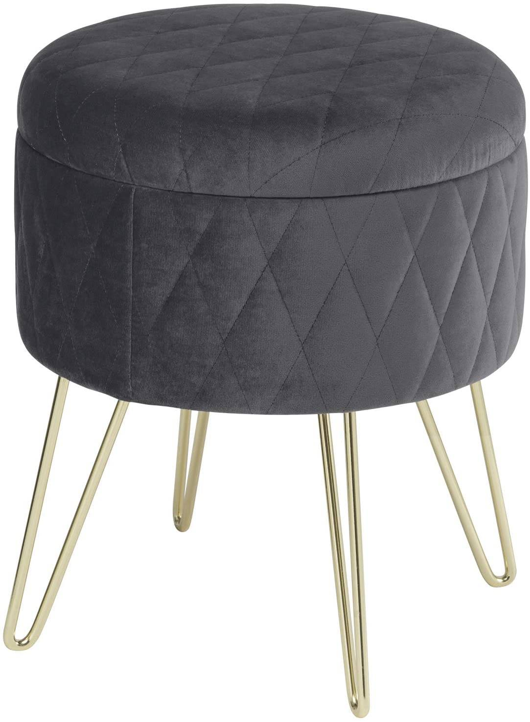 - Upholstered Stool With Storage Space Made Of Velvet, Round Woltu.eu