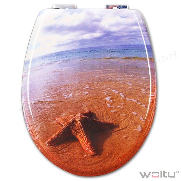 WC-Sitz Duroplast Seesterne Rot mit Absenkautomatik und Schnellbefestigung
