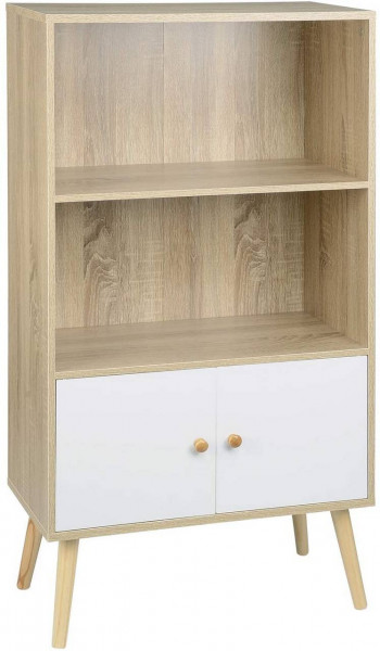 Bookcase with door, MDF, 3 compartments, light oak