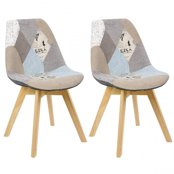 2er-Set Esszimmerstühle Holz & Leinen Lisa grau-khaki