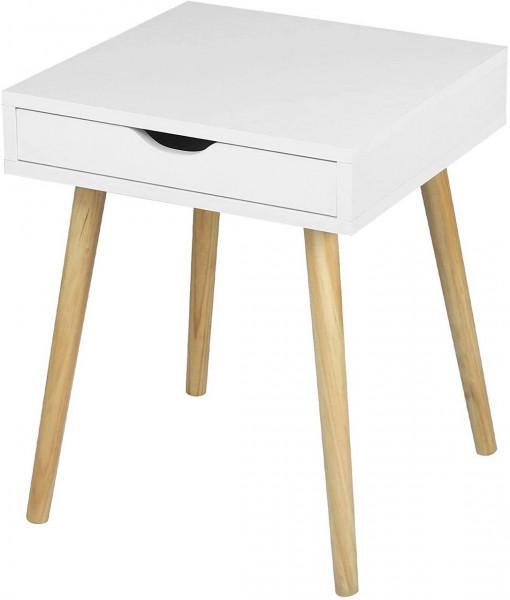 Nachttisch Beistelltisch mit Schublade aus Holz weiß