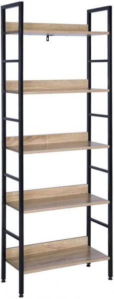 Hochregal Bücherregal Metallregal mit 5 Ablagen, schwarz-eiche