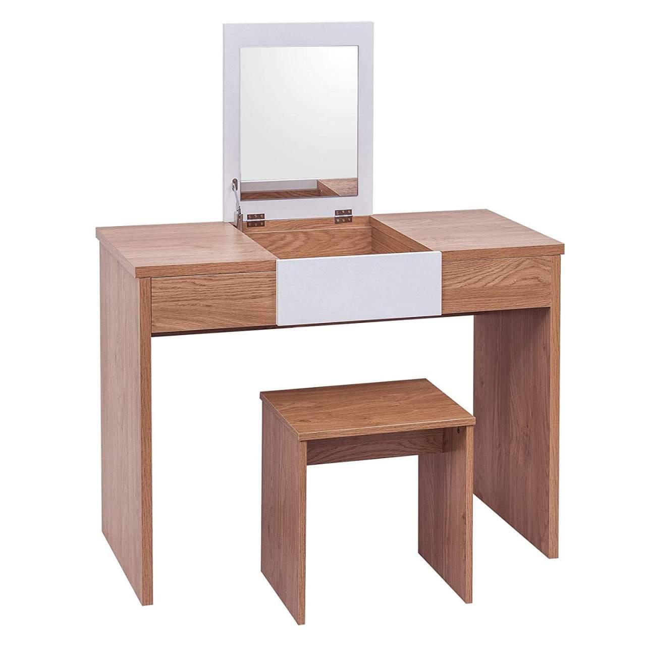 Wei/ß 100 * 45 * 76cm MB6047ws WOLTU Schminktisch Kosmetiktisch mit Hocker und klappbar Spiegel Hochglanz Tischplatte,Schreibtisch Frisierkommode