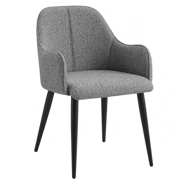 Linen kitchen chair with metal legs - model Ruay