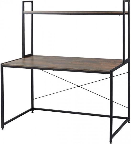 Schreibtisch mit Ablage in praktischem Design,schwarz rostfarbe