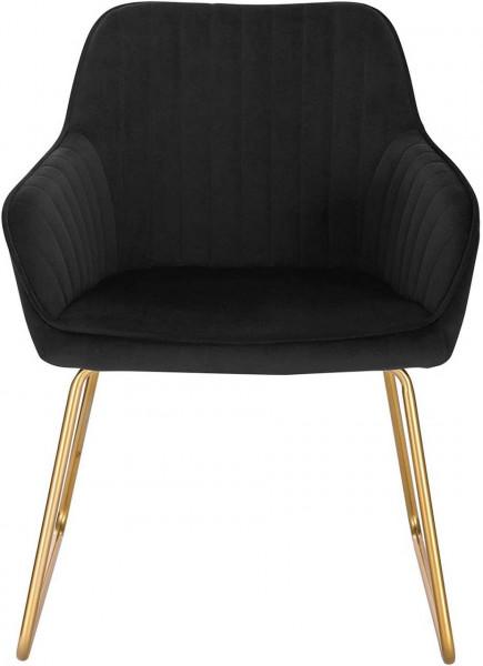 2er-Set Esszimmerstühle aus Samt - Modell Kerstin, Schwarz vorne