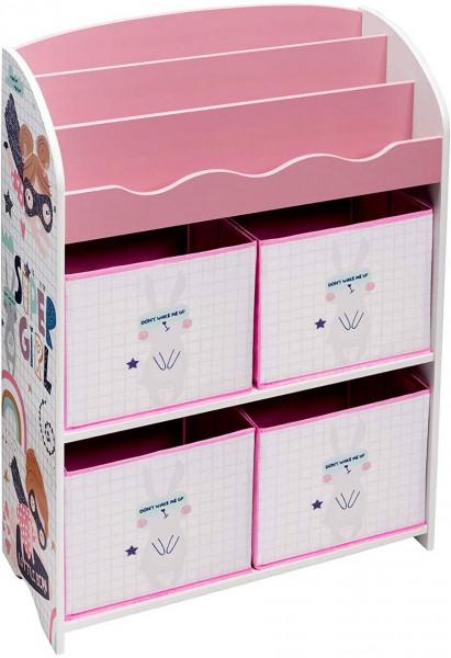 Kinderkommode mit 4 Kisten aus MDF rosa