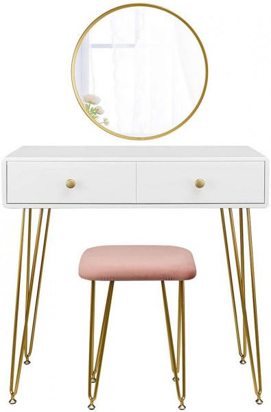 Schminktisch mit Hocker & Spiegel 2 Schubladen modern gold Modell Luxe
