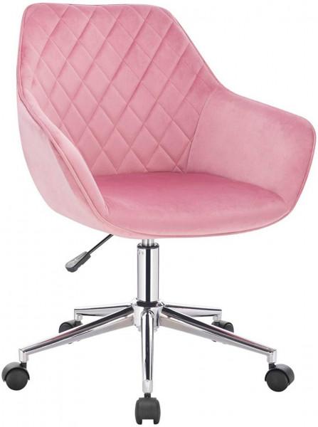 Arbeitshocker mit Rückenlehne aus Samt Beca, rosa