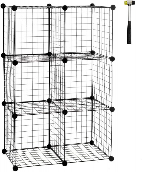 Regalsystem Steckregal aus Drahtgitte, 6 Fächer