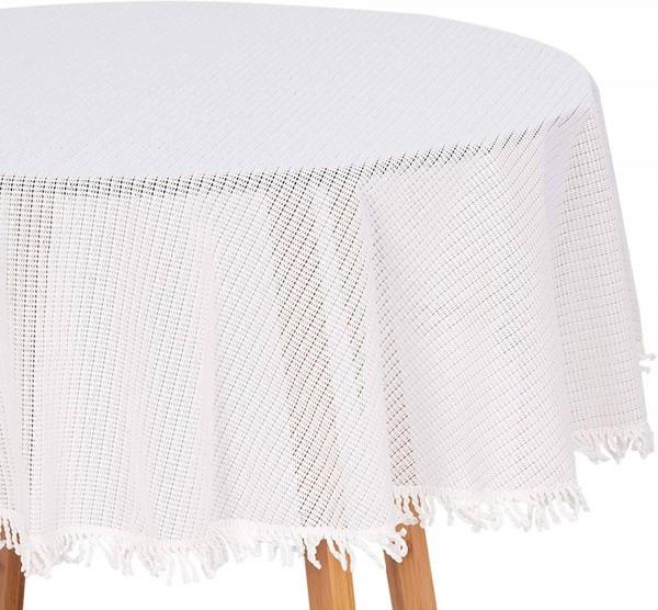 Gartentischdecke Weichschaum mit Quaste geschäumt Wetterfest, Weiß