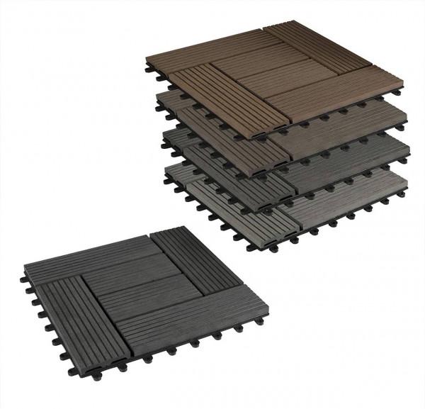 22er-Set WPC Terrassenfliese, Bodenbelag für Terrasse, Grau