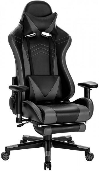Gaming Stuhl Racing Stuhl aus Kunstleder Hensel, grau