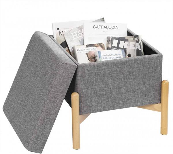 Sitzbank mit Stauraum und Deckel mit Holzfüßen, belastbar bis 150 kg, hellgrau
