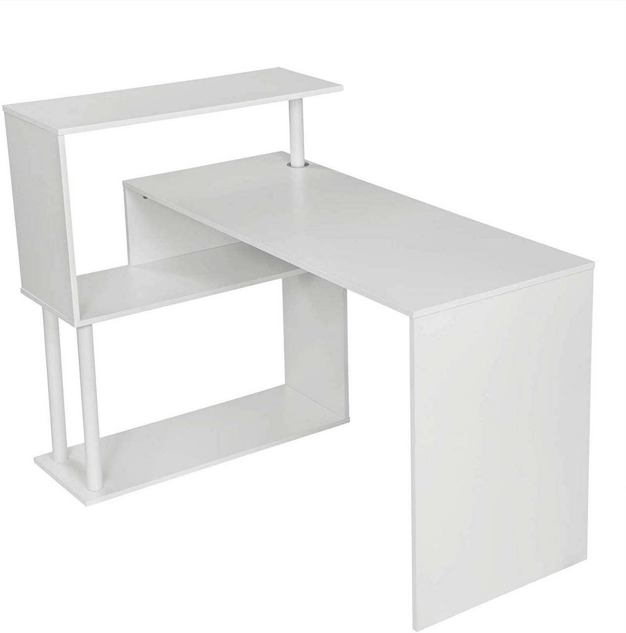 - Schreibtisch Mit Seitlichen Ablagen, Aus MDF & Metall Woltu.eu