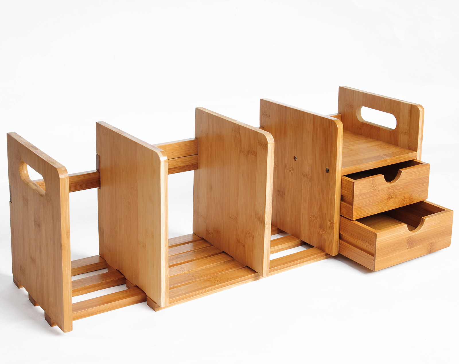 Bücherregal Tischorganizer Schreibtisch Bambus mit 2 Schubladen RG9258br