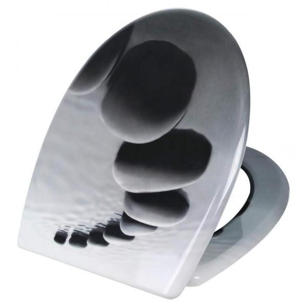 WC-Sitz Duroplast Schwarze Steinen mit Absenkautomatik