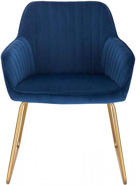 2er-Set Esszimmerstühle aus Samt - Modell Kerstin, Blau vorne