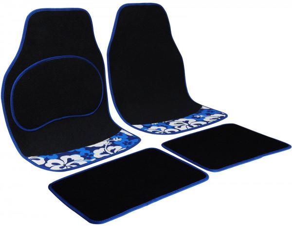 Auto Fußmatten Blau Blumen