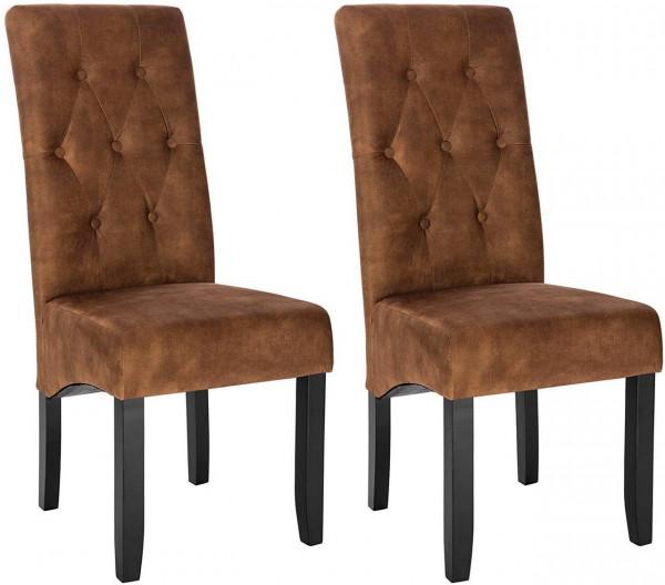 2er-Set Küchenstuhl aus Samt & Holzbeine Karina, braun