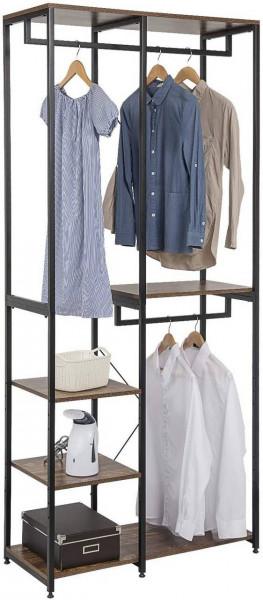 Garderoben- & Kleiderständer 4 Ablagen aus Holz & Metall, schwarz-vintage