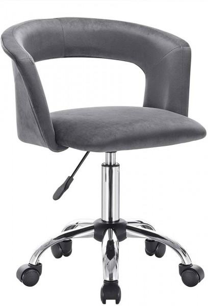 Bürostuhl mit Armlehne aus Samt Modell Yumy, dunkelgrau