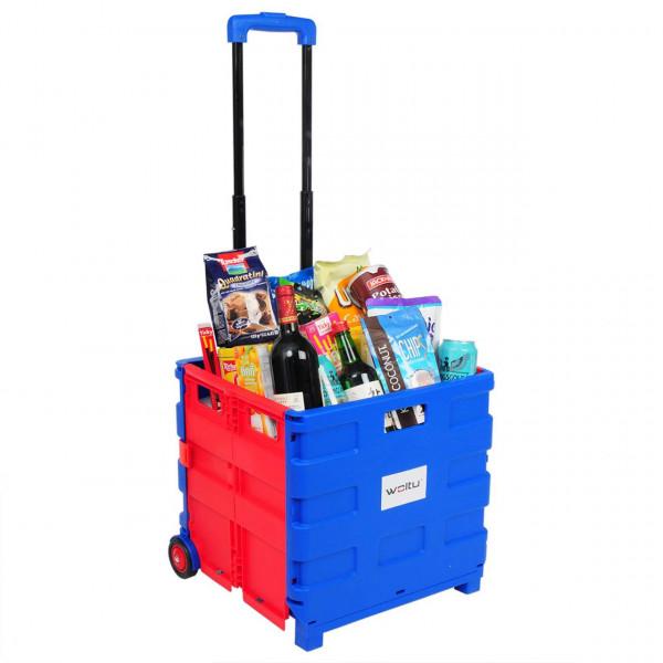 Einkaufswagen mit Deckel gross Blau-Rot