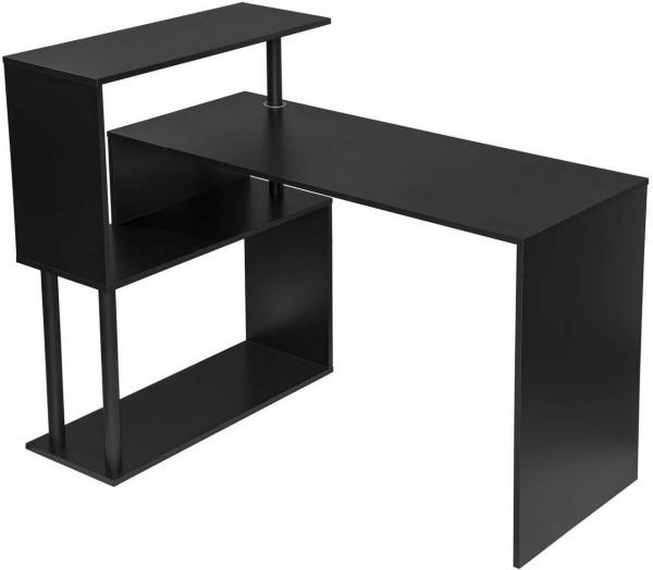 Schreibtisch mit seitlichen Ablagen, aus MDF & Metall