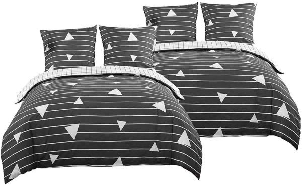 Bettbezug Set 4 teilig 100% Baumwolle Satin kuschelig & warm