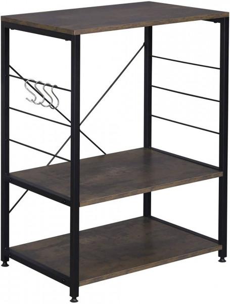 Standregal aus Holz & Metall mit 3 Ablagen für Küche,schwarz+rostfarben