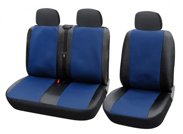 2+1 Van Truck Lorry Car Seat Covers protectors in Black and Blue