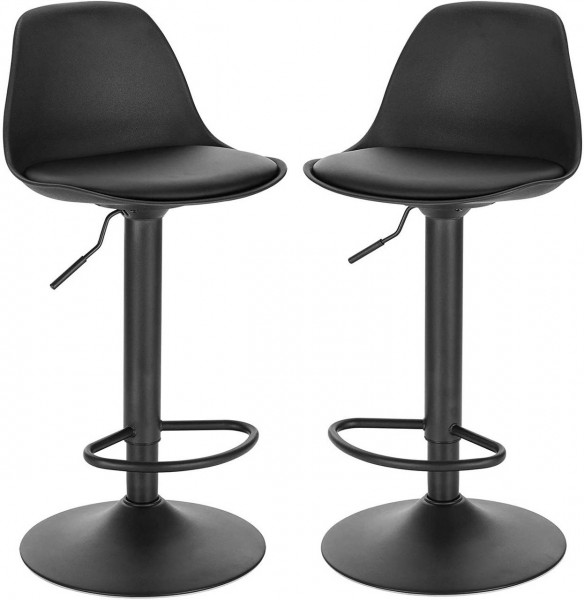 Set of 2 bar stools in imitation leather with backrest - model Elena