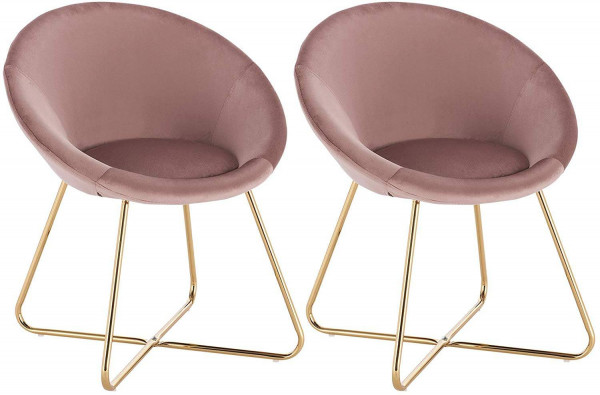 Set of 2 kitchen chair of velvet & metal legs - model Hanna
