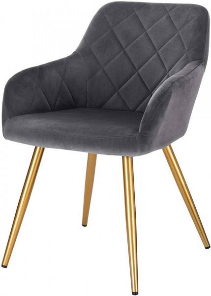 Esszimmerstuhl aus Samt goldene Beine Modell Pervin
