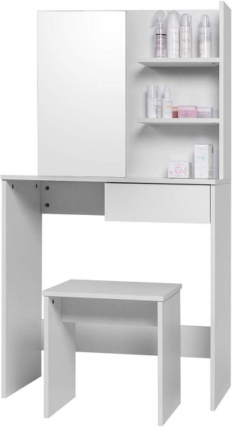 White dressing table with stool, mirror and shelving system