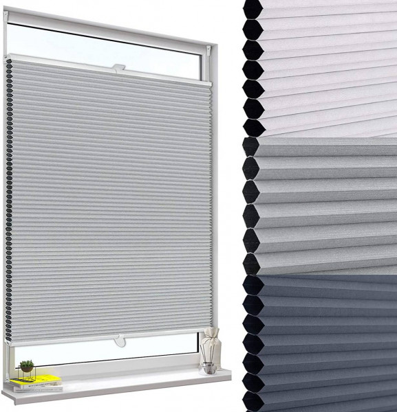 Double pleated blind without drilling with clamp carrier gray-white
