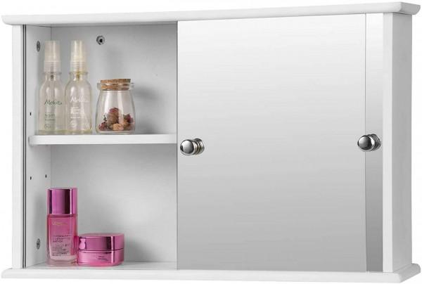Spiegelschrank für Badzimmer aus Holz mit Ablage,Weiß