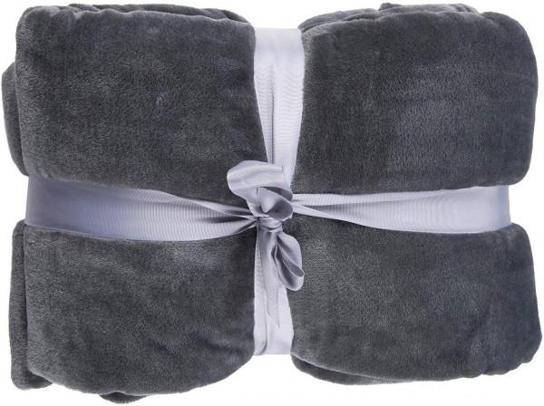 Samtweiche TV-Decke mit Ärmel, Fußsack und 2 Taschen aus Cashmere Feeling Flanell