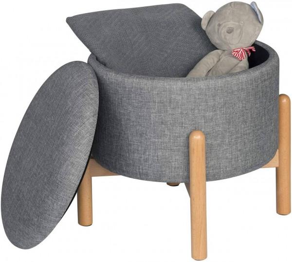 Sitzbank Sitztruhe mit Stauraum aus Leinen, rund, hellgrau