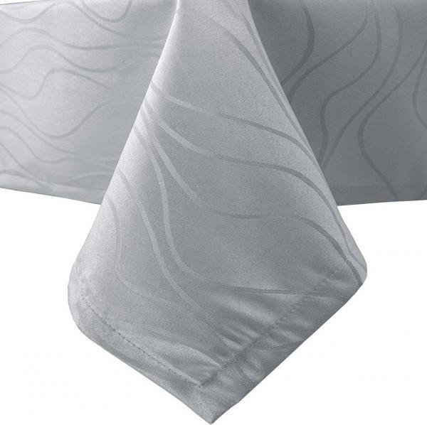 Tischdecke Damast Streifen, Wellen Design mit Saum, Silbergrau