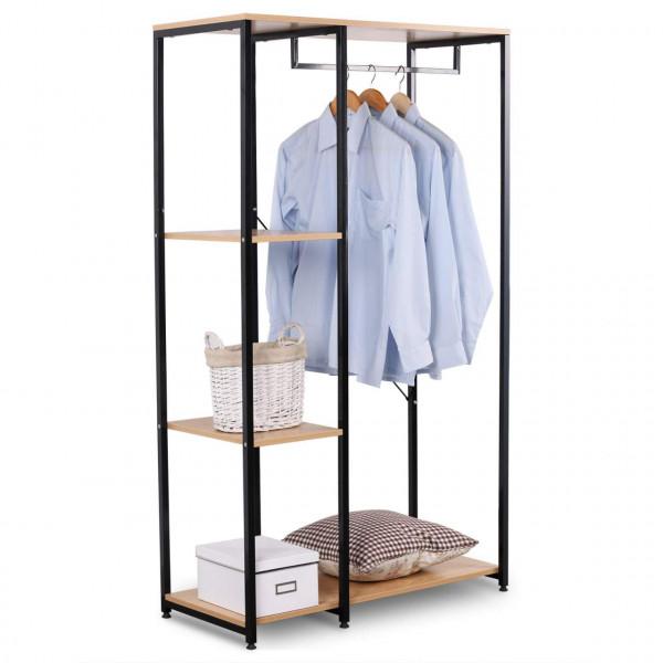 Garderobenständer & Schuhregal mit Ablage, aus Holz und Stahl, schwarz-eiche