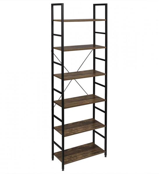 Floor shelf with 6 shelves, metal and wood