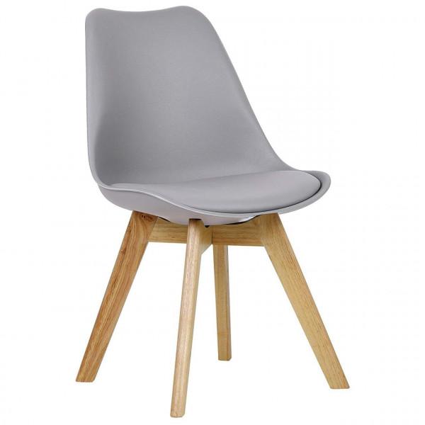 Esszimmerstühle 2er-Set Leinenbezug Holzbeine Lisa grau
